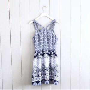 Anthropology Monteau Blue White Print Batik Dress